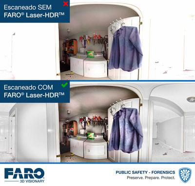 O Laser-HDRTM da FARO (patente pendente), outra inovação de propriedade da FARO, melhora técnicas convencionais de HDR de múltiplas exposições, ao aperfeiçoar inteligentemente fotografias com intensidade de laser do scanner a laser Focus.