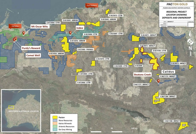 Figure 2: Pacton Pilbara regional location plan, also at https://www.pactongold.com/Pacton-Location-Map.jpg (CNW Group/Pacton Gold Inc.)