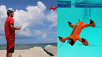 Spry Drone briefly submerges under water to flip on its belly then fly in the air like a bird