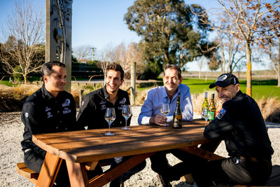 The team from Emirates Team New Zealand with Brancott Estate chief winemaker Patrick Materman