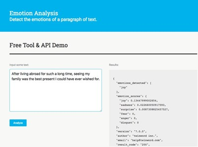 Identify Emotions in Written Text - Twinword Inc. Announces New Emotion Analysis API