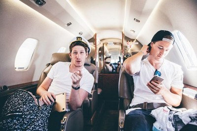 Two of Liquid I.V.'s newest investors, Myles Shear (left) and Kygo (right), travel the world together touring.