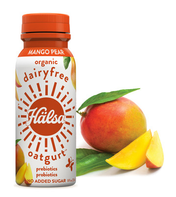 Organic Hälsa Oatgurt is available in three great-tasting flavors – Organic Strawberry, Organic Blueberry and Organic Mango Pear.  Hälsa is 100% clean label, no dairy, no soy, no added sugar, with Prebiotics, Probiotics, and is Certified Organic and Certified Kosher. Only 120 – 130 calories per bottle