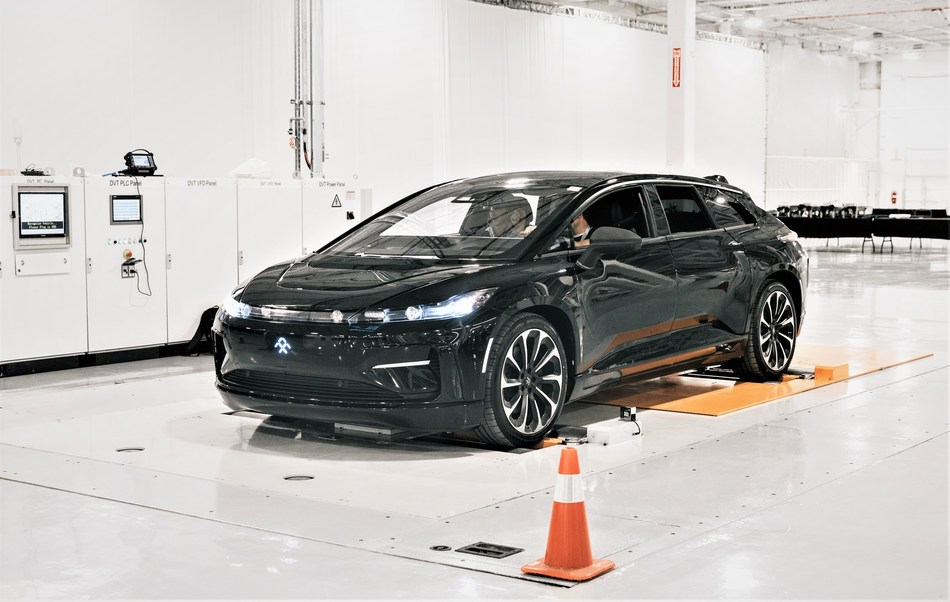 Faraday Future FF 91 first pre-production car is complete and rolled through first phase of testing at Hanford factory.