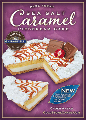 Sea Salt Caramel Pie Scream Cake™ – Sea Salt Caramel Ice Cream Made with Ghirardelli® in Graham Cracker Pie Crust, topped with White Frosting and Ghirardelli Sea Salt Caramel