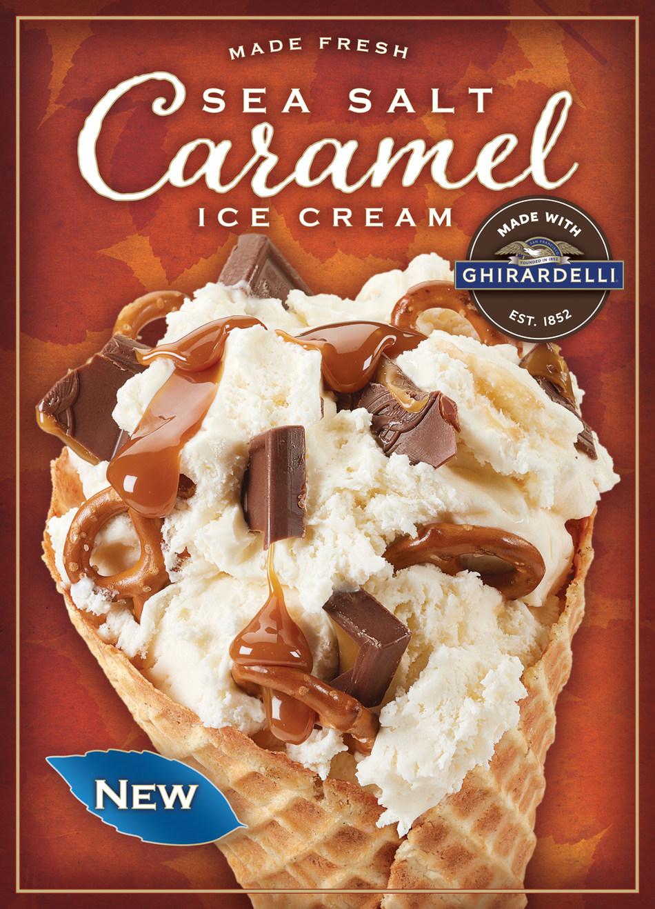 Sweet & Salty Twist™ – Sea Salt Caramel Ice Cream Made with Ghirardelli®, Ghirardelli Milk Chocolate Caramel Square, Pretzels and Ghirardelli Sea Salt Caramel