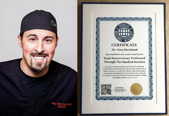Dr. Marchand is Awarded a World Record Academy World Record for Hysterectomy through the Smallest Incision (PRNewsfoto/Marchand Institute for Minimall)