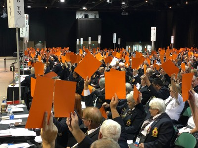 Delegates vote on important issues at The Royal Canadian Legion 47th Dominion Convention in Winnipeg, MB. (CNW Group/The Royal Canadian Legion Dominion Command)
