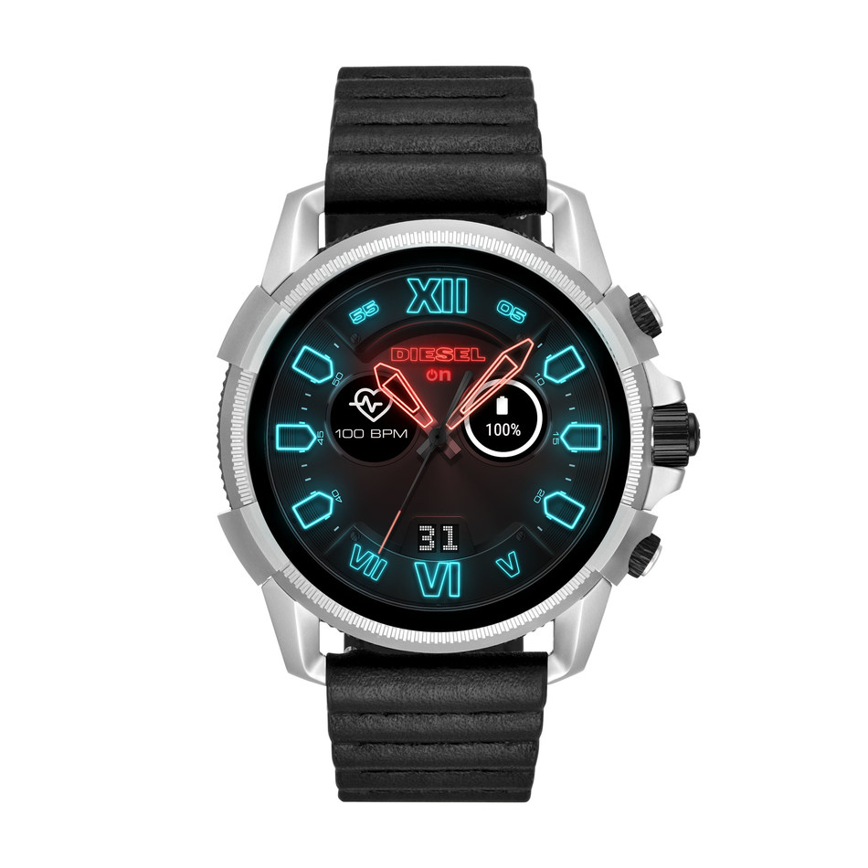 The next generation Diesel Full Guard 2.5 touchscreen smartwatch offers the latest wearable technology, including heart rate tracking, NFC payment capabilities and GPS tracking. Optimized features include rapid charging, music control, customizable watch faces, smartphone notifications, Google assistance and swimproof functionality.
