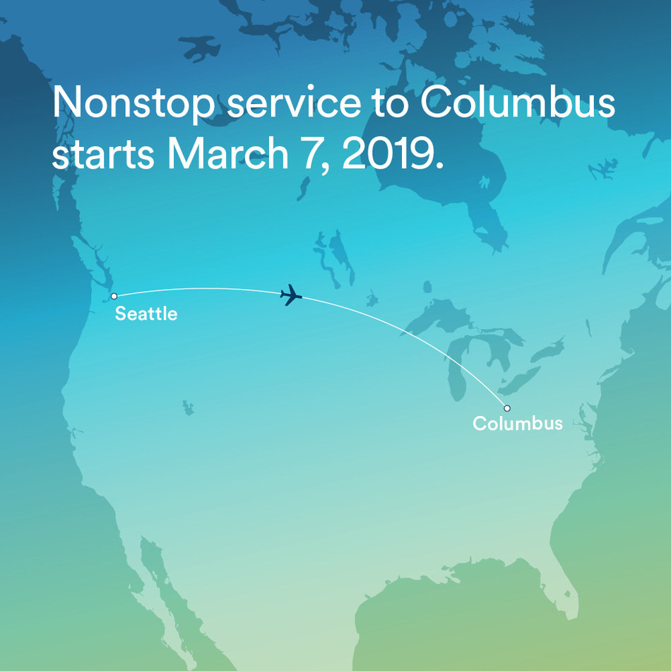 Alaska Airlines announces new daily nonstop service between Seattle and Columbus, Ohio.