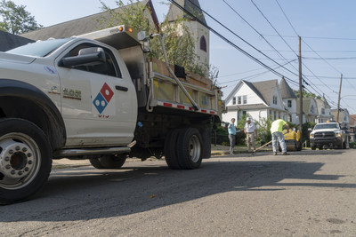 Domino's promised to save carryout pizza, one pothole at a time, with its Paving for Pizza program. Paving began yesterday in Wilkes-Barre, Pennsylvania – one of the recent paving grant recipients.