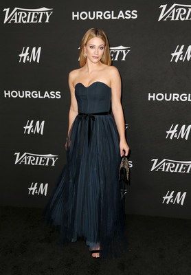 Lili Reinhart wearing a gown made of more sustainable materials from the H&M Conscious Exclusive collection.