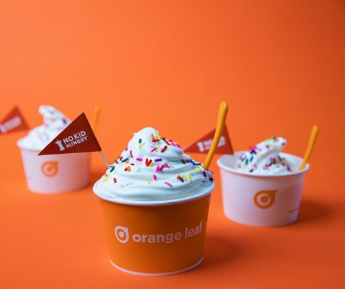 The froyo flags celebrate each guest's generous donation to help a child fighting hunger.