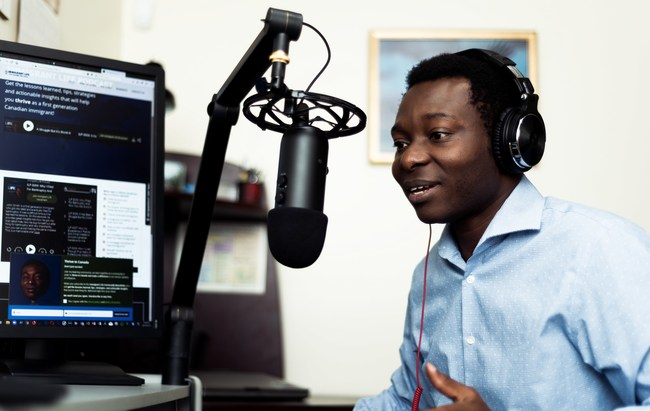 "Dapo Bankole used a loan from Windmill Microlending to get IT training in Canada and restart his career. He now owns a growing consultancy in Calgary and recently launched a podcast called ""Immigrant Life"" to offer strategies, information and insights for new immigrants to Canada. (CNW Group/Windmill Microlending)"