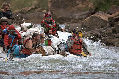 A team of wounded combat veterans paddled down the raging Colorado River during a previous Raytheon-No Barriers Grand Canyon Veteran Wilderness Expedition.
