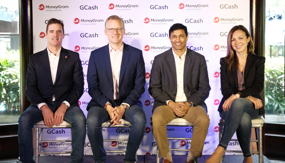 The launch of new MoneyGram and GCash direct send service. (L-R) Grant Lines, MoneyGram's global chief revenue officer, Alex Holmes, MoneyGram's chairman and chief executive officer, Anthony Thomas, president and ceo of Mynt, Kamila Chytil, MoneyGram's chief global operations officer.