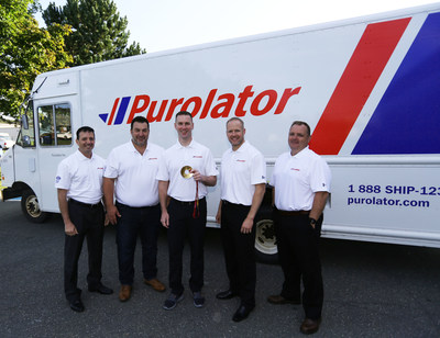 From left: Ramsey Mansour, VP, Corporate Strategy and Marketing, Purolator; Ken Johnston, CHRO, Purolator; Brad Gushue, Skip, Team Gushue (with Olympic gold medal); Mark Nichols, Third, Team Gushue and Stephen Noseworthy, Senior Regional Manager, Field Operations Atlantic Canada, Purolator, at an event in St. John's, Newfoundland to announce a multi-year sponsorship agreement. (CNW Group/Purolator Inc.)