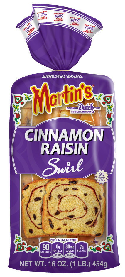 Martin's Cinnamon-Raisin Swirl Potato Bread features cinnamon and juicy raisins swirled into Martin's Potato Bread. It is the first item in their current product line to feature a sweeter flavor profile that has a breakfast focus.