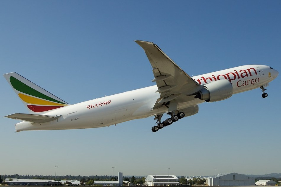 Ethiopian Airlines B777-200LRF freighter aircraft.