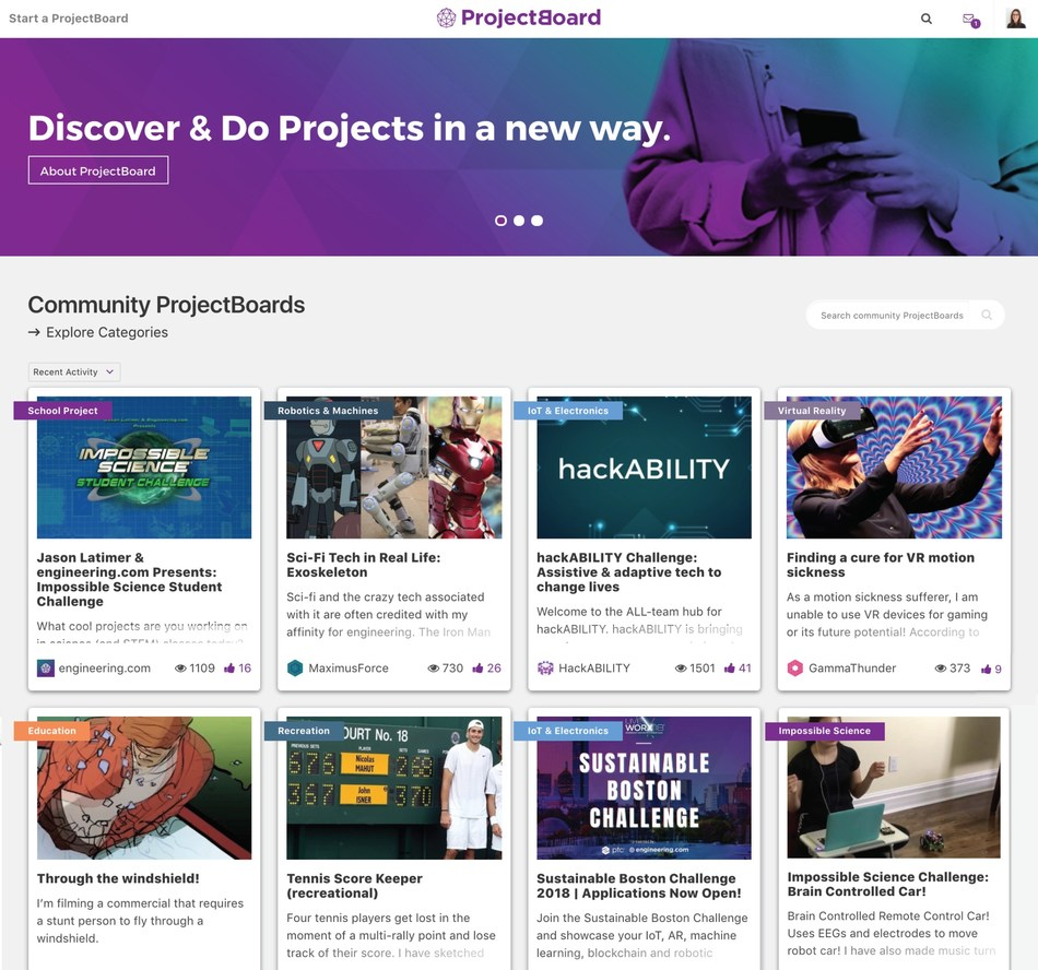 Fig.1: ProjectBoard's Homepage. A great place to explore, discover and contribute to projects created by the community. (CNW Group/engineering.com)