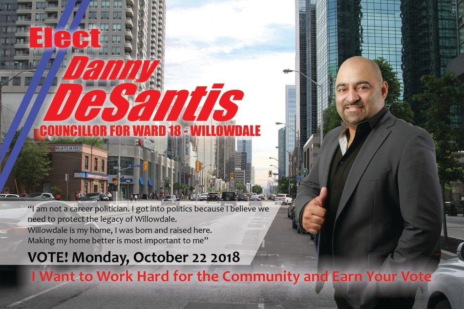Elect Danny DeSantis for Councillor of Ward 18 in Willowdale (CNW Group/Danny DeSantis Election Campaign)