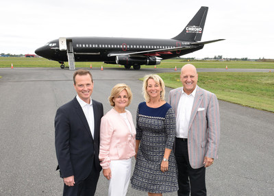 Left to right: Charles Vaillancourt, Chairman of the Board of Directors of Aéroport Montréal Saint-Hubert Longueuil (AMSL), Jane Foyle, General Manager of AMSL, Sylvie Parent, Mayor of Longueuil, and Michel Picard, MP for Montarville (CNW Group/Aéroport Montréal Saint-Hubert Longueuil)