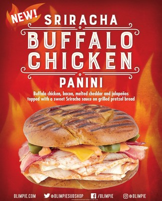 The Sriracha Buffalo Chicken Panini features buffalo chicken, bacon, melted cheddar and jalapeños drizzled with a sweet Sriracha sauce in between two pieces of perfectly grilled pretzel bread.