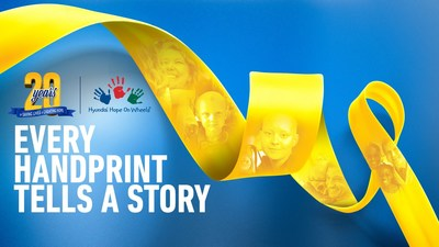 """September is National Childhood Cancer Awareness Month. Hyundai Hope On Wheels Celebrates 20 Years of 'Saving Lives and Creating Hope' in Fight to End Pediatric Cancer with 2018 Theme """"Every Handprint Tells a Story""""."""