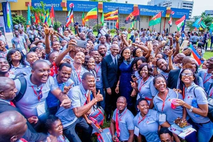 Tony O. Elumelu, Founder, Tony Elumelu Foundation (TEF) and Dr. Awele Elumelu, TEF Trustee surrounded by 2017 Tony Elumelu Entrepreneurs at the 2017 TEF Entrepreneurship Forum. (PRNewsfoto/The Tony Elumelu Foundation)