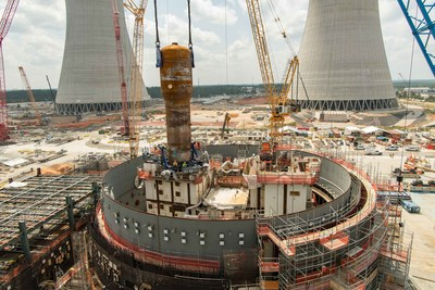 The 1.4 million pound steam generator is placed at Vogtle Unit 4 near Waynesboro, Georgia.