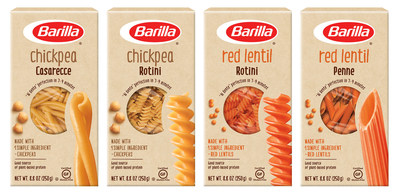 The new legume pastas from Barilla come in four varieties, each featuring only one ingredient - either chickpeas or red lentils - plus the nutrition benefits of legumes.