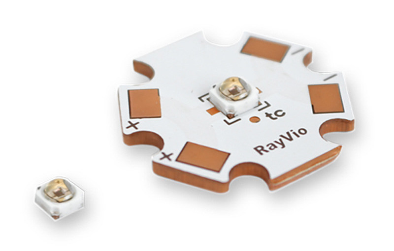 The XD and XR series are available from Digi-Key as emitters or on star board. Both have a nominal drive current of 100mA and can be over or under driven to optimize for power or lifetime. XD Series: Typical Output 3-5 mW. XR Series: Typical Output 6-18+ mW.