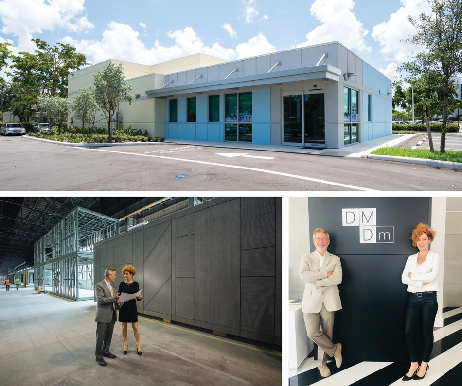 Top: RAD patented PRO System vault and clinic recently placed in Delray Beach, Florida. Bottom: RAD President John Lefkus and DMDmodular CEO Ewelina Woźniak - Szpakiewicz PhD, meet on DMD's factory floor and offices.