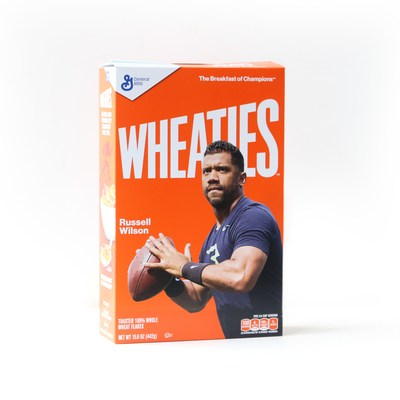 Quarterback Russell Wilson is the next champion to appear on Wheaties iconic orange box.