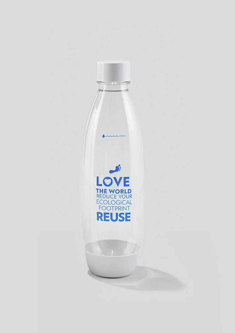 "As part of its partnership with the Oceanic Society, SodaStream has created a limited edition ""Be the Change"" carbonating bottle, for use in making sparkling water at home, work or school. The special bottle features a drawing of the Earth and reminds users they should choose to ""Love the world,"" ""Reduce their ecological footprint,"" and ""Reuse"". The first 10,000 people to take SodaStream's sustainability pledge will receive a complimentary bottle."