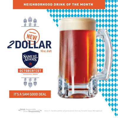 Applebee's 2 DOLLAR Samuel Adams OctoberFest is available now through the month of September.