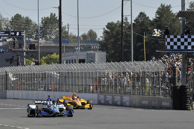 The Honda?s of Takuma Sato (#30) and Ryan Hunter-Reay (#28) finished first and second today at the Grand Prix of Portland.  Sebastian Bourdais completed the 1-2-3 sweep for Honda.