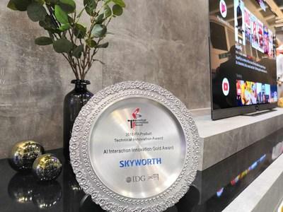"""El S9A ganó el """"Premio de Oro a la Innovación Interactiva en IA"""" (PRNewsfoto/Skyworth RGB)"""