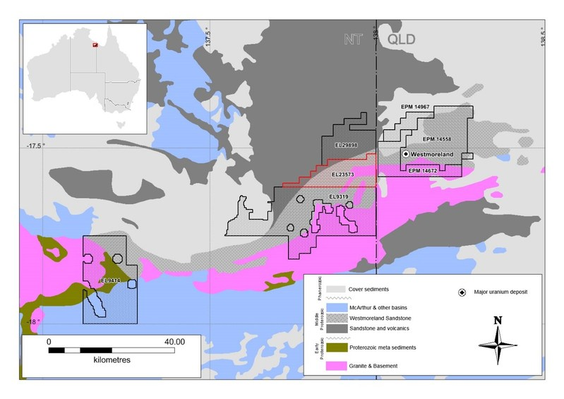 Figure 2: Recently acquired Tenement from Verdant Minerals Ltd (red highlights) (CNW Group/Laramide Resources Ltd.)