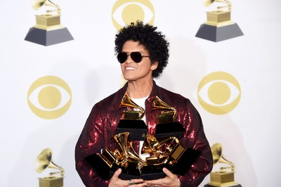 The 61st Annual GRAMMY Awards® Top the Charts with Key International Sales Secured by Alfred Haber, Inc. Image is of Bruno Mars from 60th Annual GRAMMY Awards®.