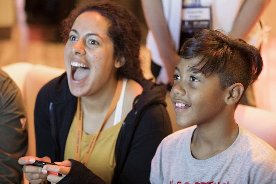 Gabriella Skory (4KidsGaming), one of the YouTube gaming creators pioneering St. Jude PLAY LIVE on YouTube, and St. Jude patient Jalen play video games together at St. Jude Children's Research Hospital.