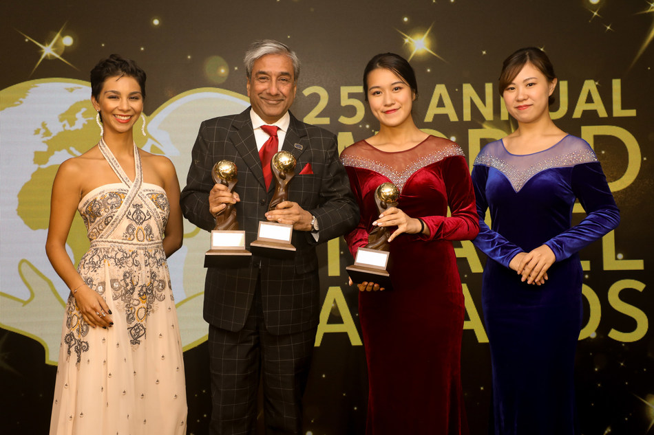Sandeep Dayal, head, sales, Cox & Kings displaying the trophies at the 25th Annual World Travel Award held at InterContinental Grand Stanford, Hong Kong. Cox & Kings bagged three titles namely, Asia's Leading Luxury Tour Operator, India's Leading Tour Operator and India's Leading Travel Agency. (PRNewsfoto/Cox & Kings Ltd)