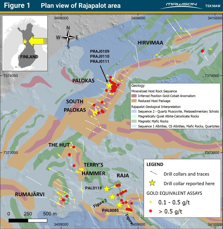 Figure 1 Plan view of Rajapalot area (CNW Group/Mawson Resources Ltd.)