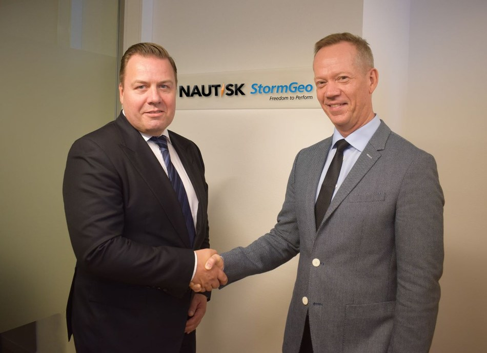 StormGeo Acquires Nautisk. Pictured left to right, Thomas Fjeld, Nautisk CEO and Per-Olof Schroeder, StormGeo CEO.