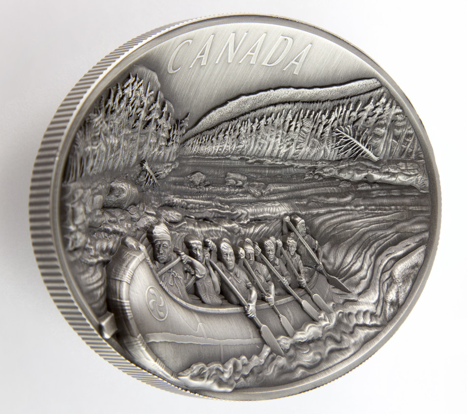 The Royal Canadian Mint's 2018 $250 Fine Silver Coin - The Voyageurs (CNW Group/Royal Canadian Mint)