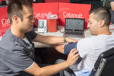 Blood chemistry and blood pressure evaluation are key steps in an onsite preventive care checkup by Catapult Health.