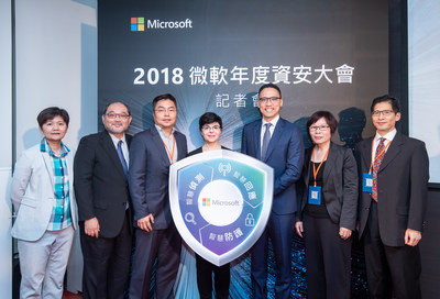 Microsoft Taiwan Cybersecurity Summit 2018. (From right to left) Lawrence Wong, KPMG Executive Consultant, Fu-Mei Wu, Director of Cyber Security of Investigation Bureau Dept., Ministry of Justice, Ken Sun, General Manager of Microsoft Taiwan, Diana Kelley, Cybersecurity Field CTO, Microsoft, Vincent Shih, CELA Lead of Microsoft Taiwan, Chi-Min Yu, Associate Professor, School of Law, Soochow University, and Grace Chou, Microsoft 365 BG Lead of Microsoft Taiwan