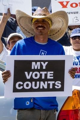 Gerawan Farmworker Jose Alvarado Demonstrating Because His Vote Counts! The over 3,000 Gerawan Farmworkers' Votes Count!