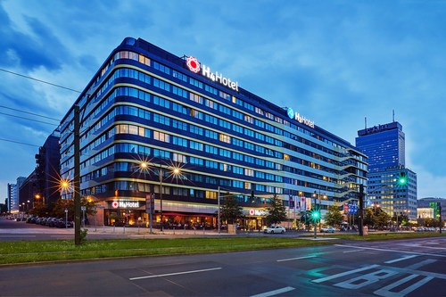 The exterior of the H4 Hotel and H2 Hotel are pictured in Berlin Alexanderplatz.