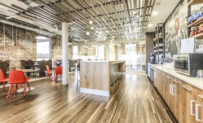 The South Carolina Serendipity Labs will meet the same premium design standards as this Lab in Stamford, CT. The company uses only low volatile organic compound (VOC) paint and nontoxic materials. All carpet is 100% recyclable. (Photo credit: Serendipity Labs)